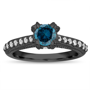 Fancy Blue Diamond Engagement Ring 0.80 Carat 14K Black Gold Vintage Style Unique Handmade Certified