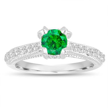 Fancy Green Diamond Engagement Ring 0.80 Carat 14K White Gold Unique Handmade Certified