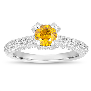Fancy Yellow Diamond Engagement Ring 0.80 Carat 14K White Gold Unique Handmade Certified