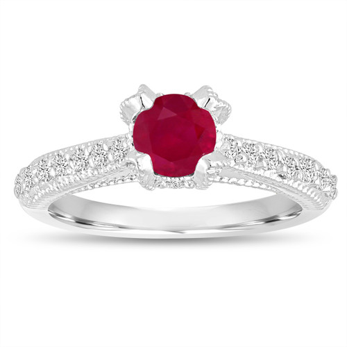 Certified Ruby Engagement Ring 14K White Gold 0.85 Carat Unique Vintage Style Handmade Pave
