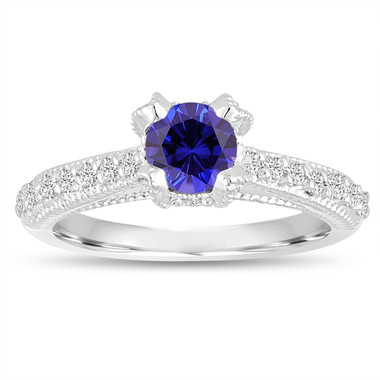 Certified Blue Sapphire Engagement Ring 14K White Gold 0.82 Carat Unique Vintage Style Handmade Pave