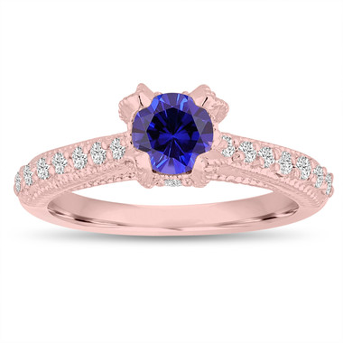 Blue Sapphire Engagement Ring 14K Rose Gold 0.82 Carat Unique Vintage Style Handmade Pave Certified