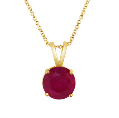0.60 Carat Solitaire Ruby Pendant Necklace 14k Yellow Gold Certified Handmade Birthstone Red Ruby