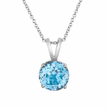 14K White Gold Aquamarine Solitaire Pendant Necklace 1.00 Carat HandMade