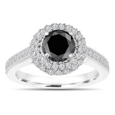 Double Halo Black Diamond Engagement Ring 14K White Gold 1.66 Carat Pave Certified Unique