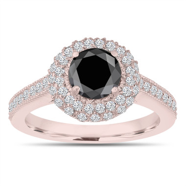 Double Halo Black Diamond Engagement Ring 14K Rose Gold 1.66 Carat Pave Certified Unique