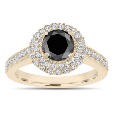 Double Halo Black Diamond Engagement Ring 14K Yellow Gold 1.66 Carat Pave Certified Unique