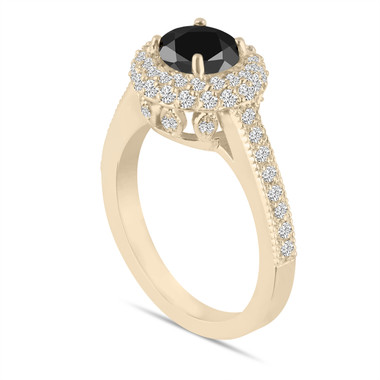 18K Yellow Gold Black Diamond Engagement Ring Double Halo Pave 1.66 Carat Certified Unique