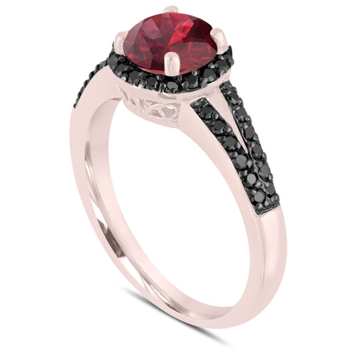 Garnet & Black Diamond Engagement Ring 14k Rose Gold 1.24 Carat Unique Halo Handmade Birth Stone