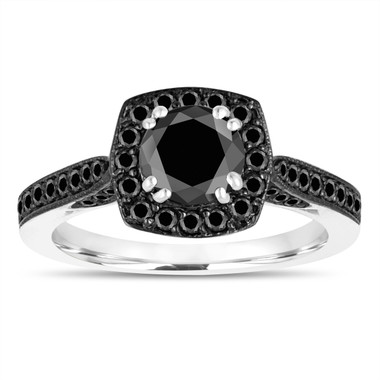 1.29 Carat Black Diamond Engagement Ring 14k White Gold Certified Halo Pave Unique Handmade