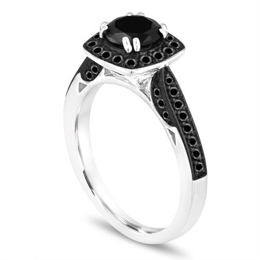 Platinum Fancy Black Diamond Engagement Ring 1.29 Carat Certified Halo Pave Unique Handmade