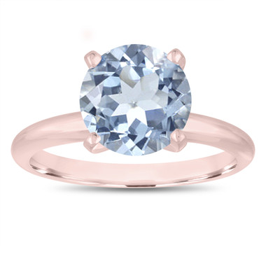 Solitaire Aquamarine Engagement Ring 2.20 Carat 14K Rose Gold Certified handmade