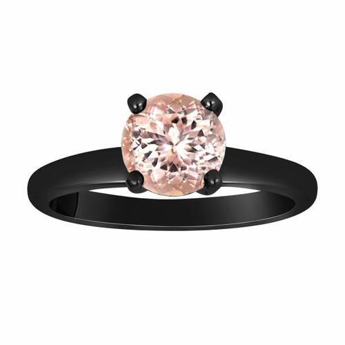 Pink Peach Morganite Solitaire Engagement Ring 1.00 Carat Vintage Style 14K Black Gold Handmade