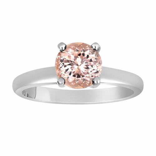 14K White Gold Pink Peach Morganite Solitaire Engagement Ring 1.00 Carat Handmade