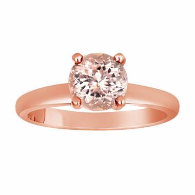 14K Rose Gold Pink Peach Morganite Solitaire Engagement Ring 1.00 Carat Handmade