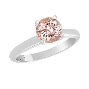 Platinum Pink Peach Morganite Solitaire Engagement Ring 1.00 Carat Handmade