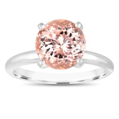 2.40 Carat Pink Peach Morganite Solitaire Engagement Ring 14K White Gold Handmade