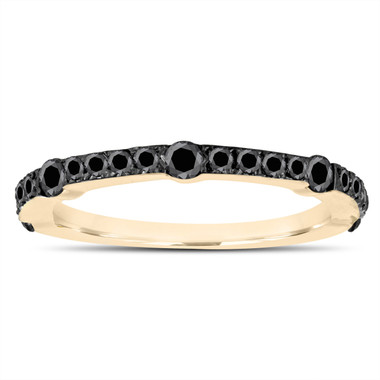 Fancy Black Diamond Wedding Band Half Eternity 14K Yellow Gold 0.50 Carat Canal And Micro Pave Set handmade