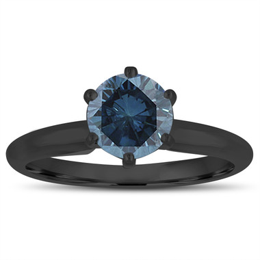 1.00 Carat Fancy Blue Diamond Solitaire Engagement Ring 14K Black Gold Vintage Style Handmade Certified