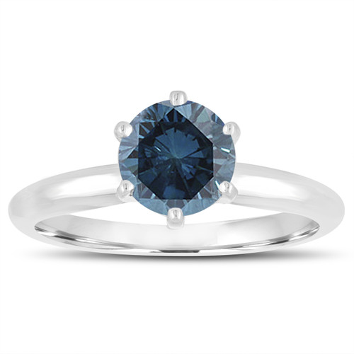 1.00 Carat Fancy Blue Diamond Solitaire Engagement Ring 14K White Gold Handmade Certified