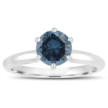 Platinum 1.00 Carat Fancy Blue Diamond Solitaire Engagement Ring Handmade Certified
