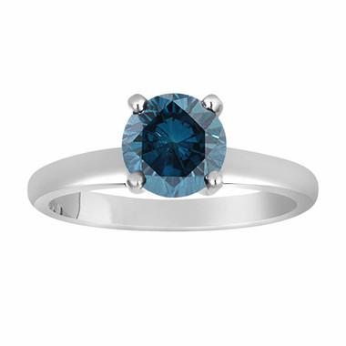 Platinum Fancy Blue Diamond Solitaire Engagement Ring 1.00 Carat Handmade Certified