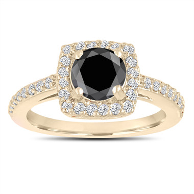 Fancy Black Diamond Engagement Ring 14K Yellow Gold Pave Halo 1.41 Carat Certified Unique Handmade