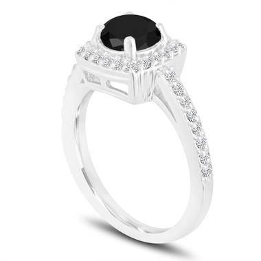 Platinum Fancy Black Diamond Engagement Ring Halo Pave 1.41 Carat Certified Unique Handmade