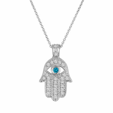 Platinum Diamond Hamsa Pendant Necklace 0.37 Carat Handmade Pave Set Fancy Blue Diamond Eye Hand Of GOD
