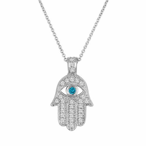 Platinum Diamond Hamsa Pendant Necklace 0.37 Carat Handmade Pave Set Fancy Blue Diamond Eye Hand Of GOD