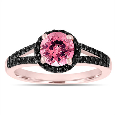 Pink Tourmaline Engagement Ring 14k Rose Gold 1.40 Carat Bridal Unique Halo Handmade
