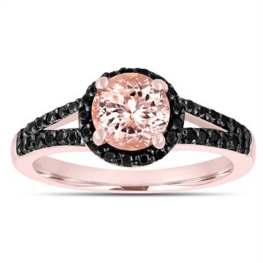 Morganite Engagement Ring 14k Rose Gold 1.30 Carat Bridal Unique Halo Handmade