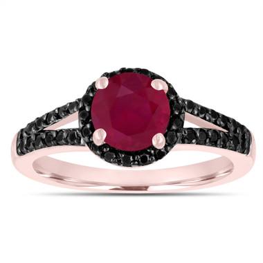 Ruby & Black Diamonds Engagement Ring 14k Rose Gold 1.43 Carat Bridal Unique Halo Handmade