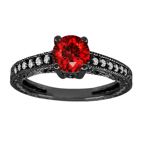 0.83 Carat Fancy Red Diamond Engagement Ring 14K Black Gold Vintage Antique Style Engraved Certified Handmade