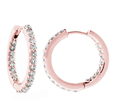 "14K Rose Gold 0.88 Carat Inside & Outside Diamonds Hoop Earrings 0.75"" inch HandMade"