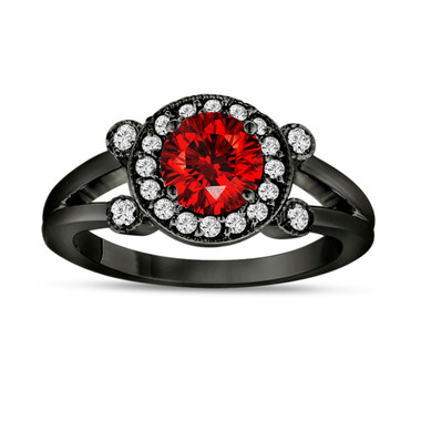1.01 Carat Fancy Red Diamond Engagement Ring 14K Black Gold Vintage Style Halo Pave Certified Handmade