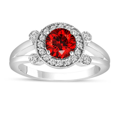Fancy Red Diamond Engagement Ring 1.01 Carat 14K White Gold Unique Halo Pave Certified Handmade