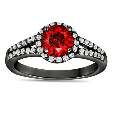 1.00 Carat Fancy Red Diamond Engagement Ring 14K Black Gold Vintage Style Halo Pave Certified Handmade