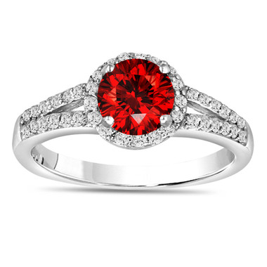 1.00 Carat Fancy Red Diamond Engagement Ring 14K White Gold Halo Pave Certified Handmade
