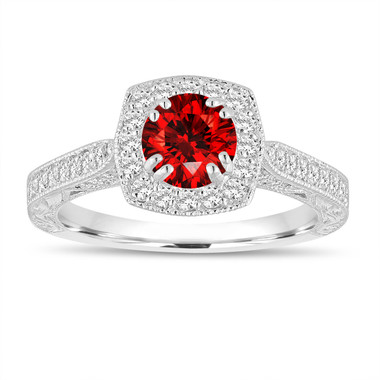 Red Diamond Engagement Ring, Hand Engraved Filigree Engagement Ring, 1.15 Carat 14K White Gold Unique Vintage Antique Style Halo Pave
