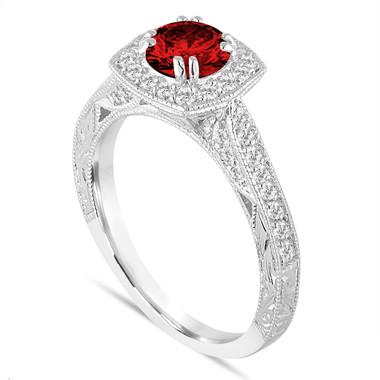 Platinum Fancy Red Diamond Filigree Engagement Ring 1.15 Carat Vintage Antique Style Hand Engraved Unique Halo Pave