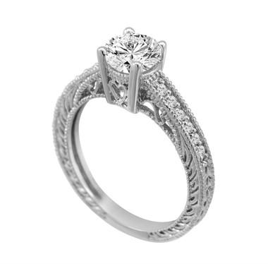 0.50 Carat Natural Diamond Engagement Ring 14K White Gold Vintage Antique Style Engraved Bridal Handmade
