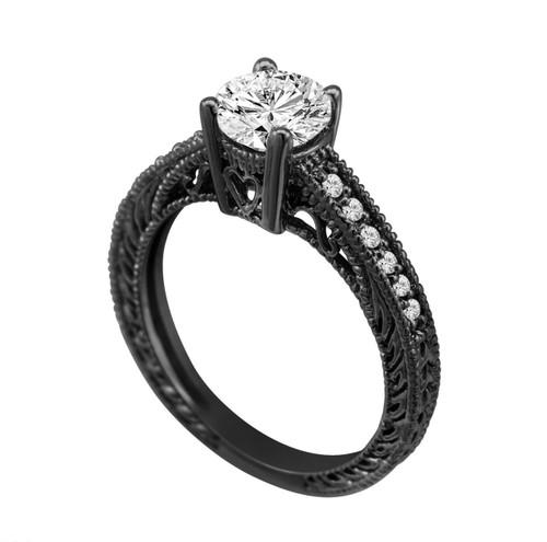 0.50 Carat Natural Diamond Engagement Ring 14K Black Gold Vintage Antique Style Engraved Bridal Handmade