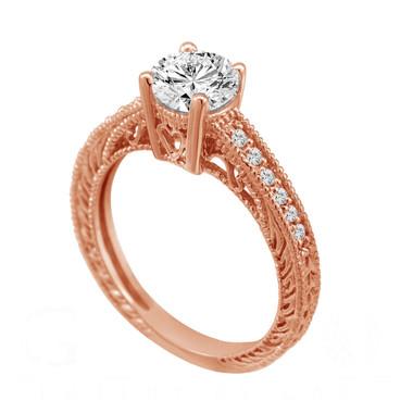 14K Rose Gold Natural Diamond Engagement Ring 0.50 Carat Vintage Antique Style Engraved Bridal Handmade
