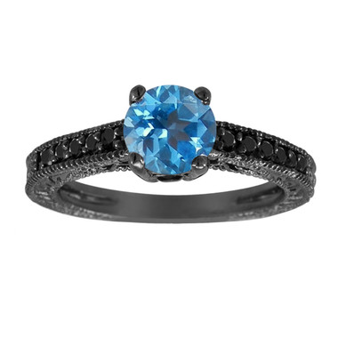 Blue Topaz Engagement Ring 14K Black Gold Vintage Antique Style Engraved 1.08 Carat Unique Certified Handmade