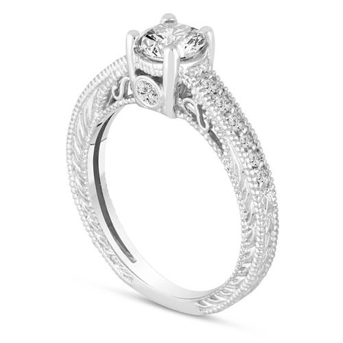 Certified Diamond Engagement Ring 0.55 Carat 14K White Gold Vintage Antique Style Engraved Bridal Handmade Pave Unique
