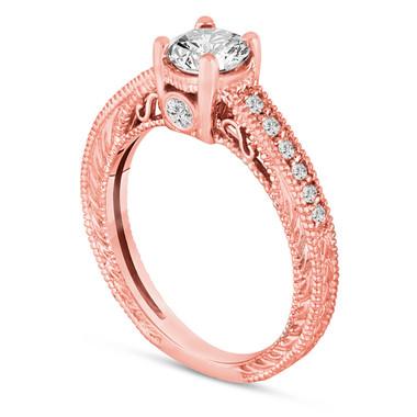 14K Rose Gold Diamond Engagement Ring 0.55 Carat Vintage Antique Style Engraved Bridal Handmade Pave Unique