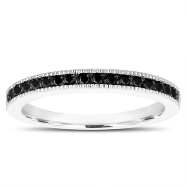 Fancy Black Diamonds Wedding Band 14K White Gold Half Eternity Anniversary Ring Handmade Stackable Pave 0.15 Carat