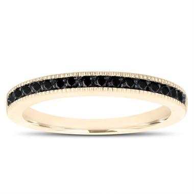 Fancy Black Diamonds Wedding Band 14K Yellow Gold Half Eternity Anniversary Ring Handmade Stackable Pave 0.15 Carat