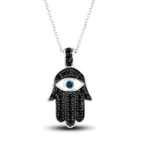 18K White Gold Fancy Black Diamond Hamsa Pendant Necklace Blue Diamond Eye 0.36 Carat Unique Handmade Pave Set